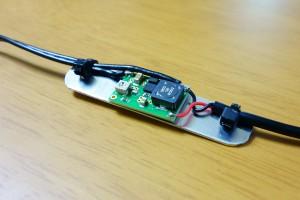 アルミ板に貼り付けた昇圧モジュール