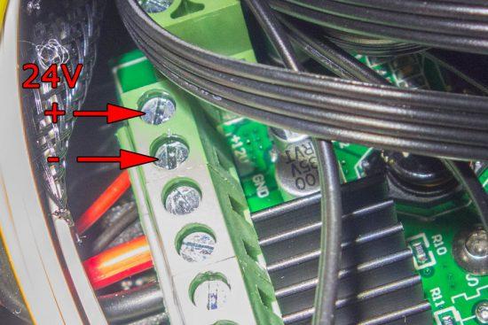 ファンの電源用のブロック端子